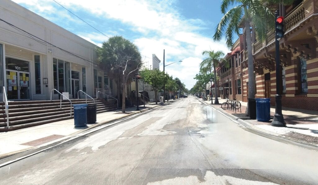 """An uncharacteristically empty Duval Street, ready to be repaved during the shutdown. PHOTOS COURTESY FROM """"KEY WEST: 66 DAYS OF PARADISE, INTERRUPTED,"""""""