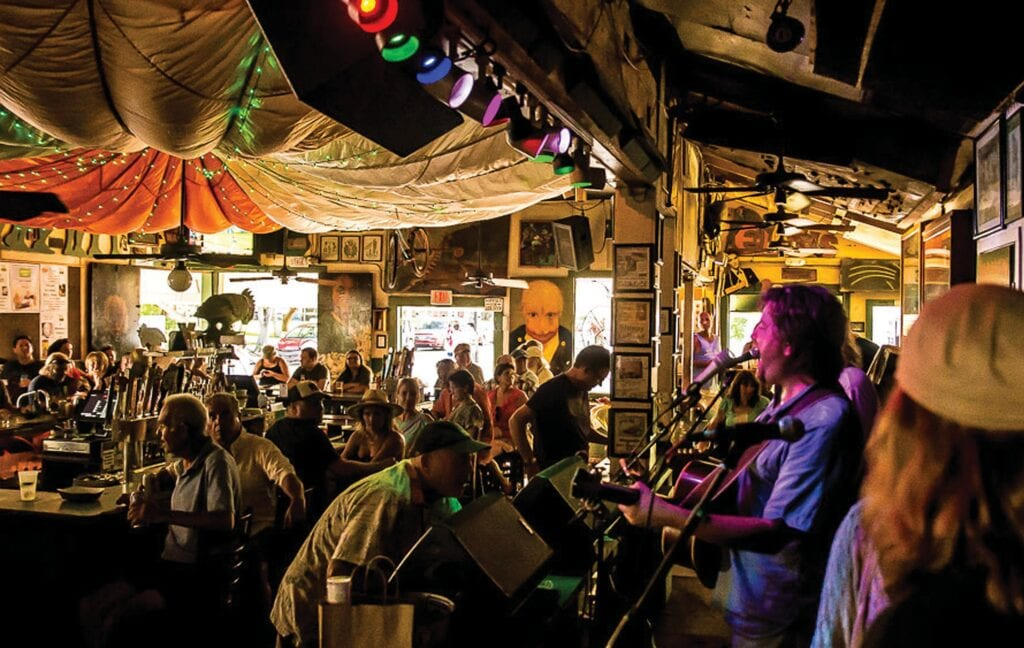While it technically isn't an outdoor venue, Green Parrot has open doors and windows to bring the outside in. It's the quintessential Key West saloon. COURTESY PHOTO