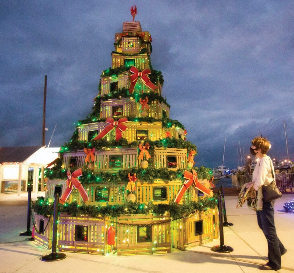 Carol Shaughnessy of Key West admires a Christmas tree made of lobster traps Tuesday evening, one of several unusual and festive trees now on display along the Harbor Walk of Lights at the Key West Historic Seaport during Key West Holiday Fest. CAROL TEDESCO / KEY WEST HOLIDAY FEST