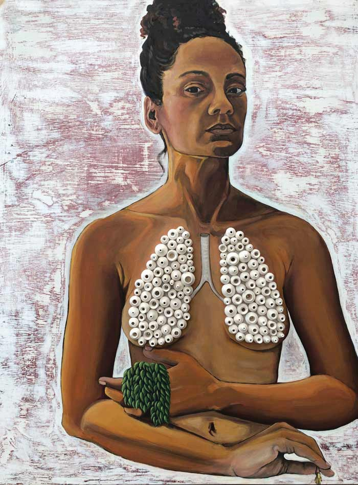 """""""None of the Above"""" features Sally Binard's portraits, which combine painting with ceramic and mixed media to comment on the tension between one's identity in the eyes of others, and the one we choose ourselves. Intensely personal, the pieces touch on Binard's racial and cultural history. COURTESY PHOTO"""
