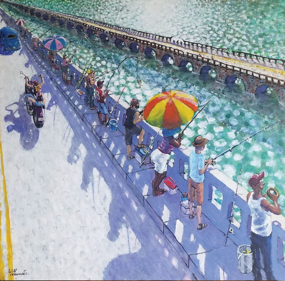 """See works by Will Fernandez and Kate Peachey at Collections, Key West Gallery on Stock Island. Pictured: """"Bridge Fishing,"""" by Will Fernandez. COURTESY PHOTO"""