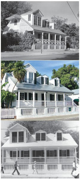 The Captain George Carey House through the years, likely the second oldest structure in Key West. This house was built in 1834. COURTESY PHOTOS