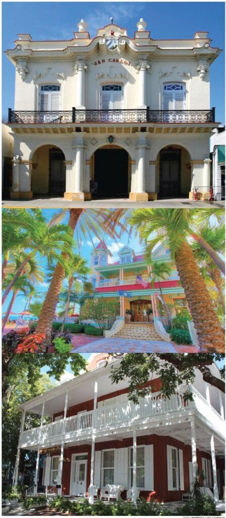 From the top: The San Carlos Institute, Southernmost Mansion and the Woman's Club. COURTESY PHOTOS