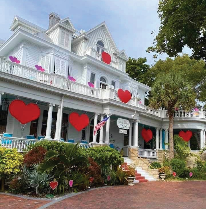 Wesley House Family Services recently flooded the Florida Keys with hearts to replace its 2021 Valentine's Gala. Its 40th anniversary gala now is set for Feb. 14, 2022. Businesses and individuals showed their support for Wesley House by displaying hearts in their yards. Wesley House offers services to families up and down the Keys. Pictured: Amsterdam's Curry Mansion Inn shows the love with its hearts. Info: www.wesleyhouse.org, www.currymansion.com. COURTESY PHOTO