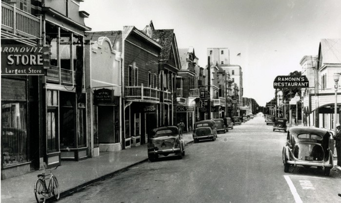 """A photograph taken during the late 1930s shows the 600 block of Duval Street, looking north. This image and others form part of the Custom House Museum's exhibit, """"The History of Duval Street: The Longest Street in the World."""" KEY WEST ART & HISTORICAL SOCIETY"""