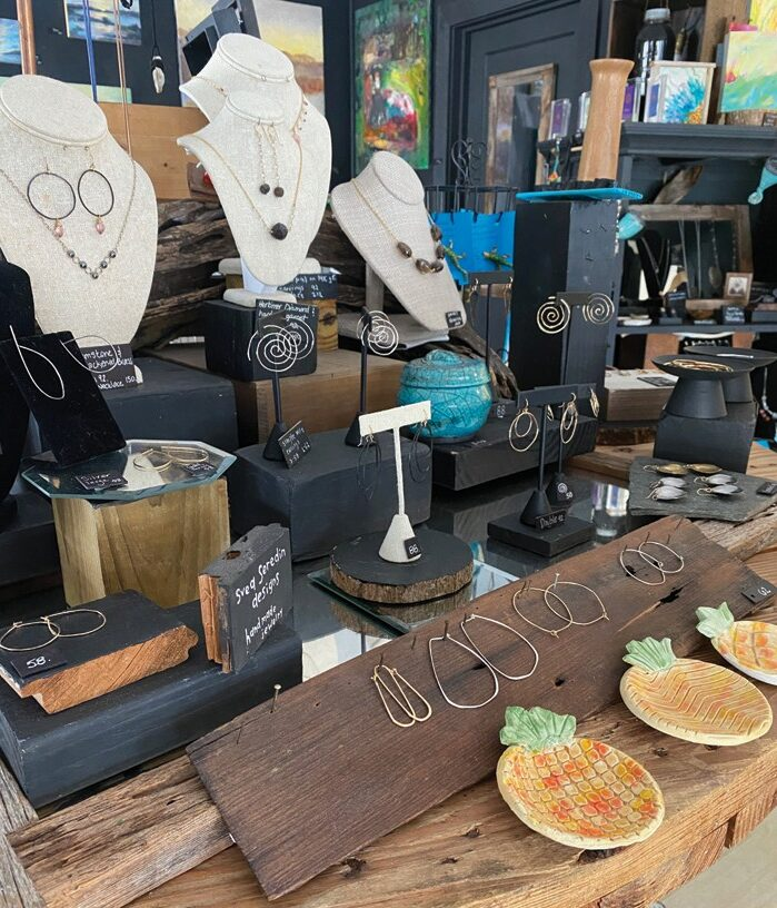 Artist-made jewelry is available at Salt Island Provisions.