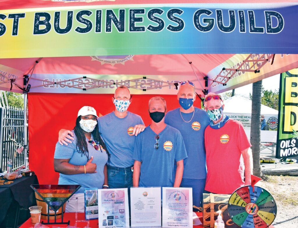 The Key West Business Guild showed off a new, colorful tent at the Key West Artisan Market, One Human Family Edition, alongside JT Thompson. Guild members Fritzie Estimond, Chuck Licis, Kevin Theriault, Dorian Patton and Alan Beaubien helped give out prizes to the attendees. The Guild exhibit was supported by 18 local businesses.