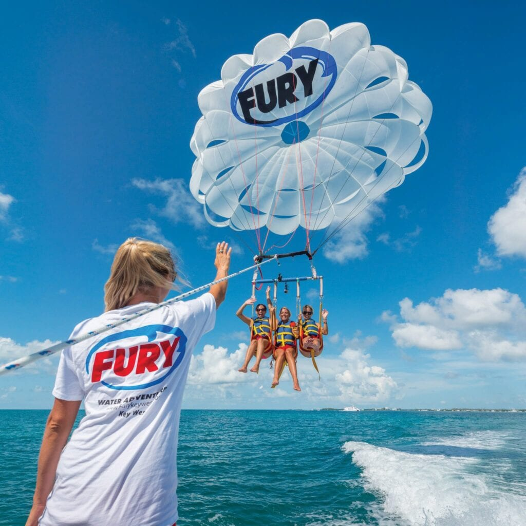 Above: Fury Water Adventures offers parasailing. COURTESY PHOTOS