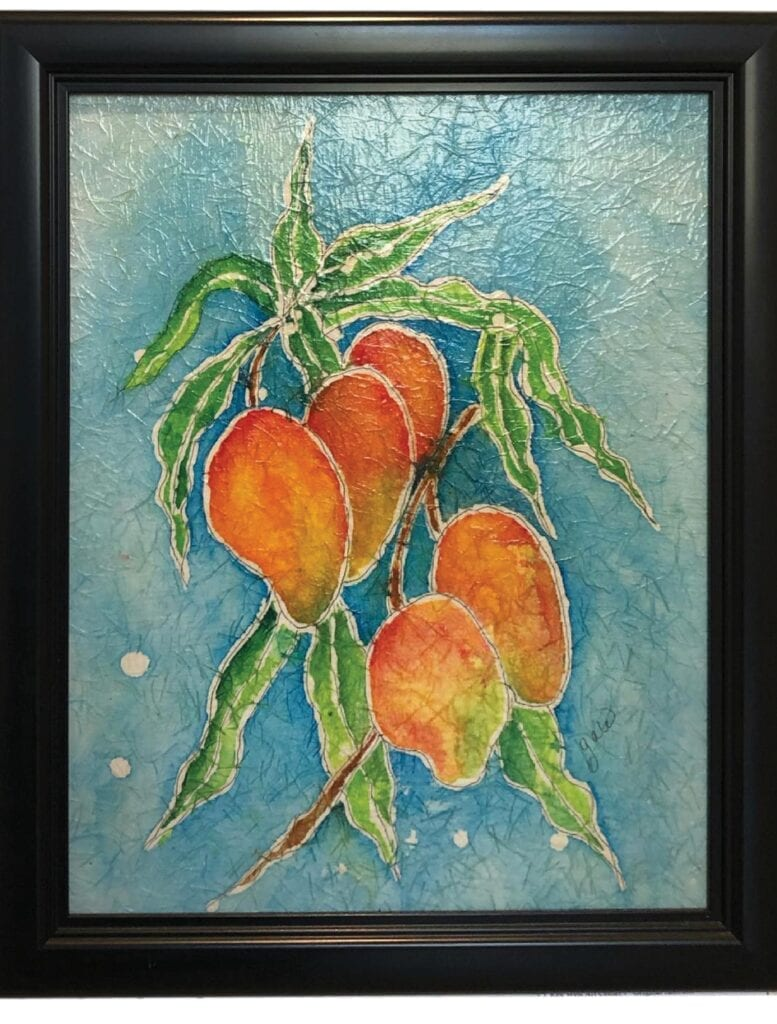 """""""Mango Crazy,"""" by Gale Upmal, is watercolor batik on rice paper. Watercolor batik is the process of combining melted wax and watercolors to create a painting. The work was on display at the Key West Art Center & Gallery. COURTESY PHOTO"""