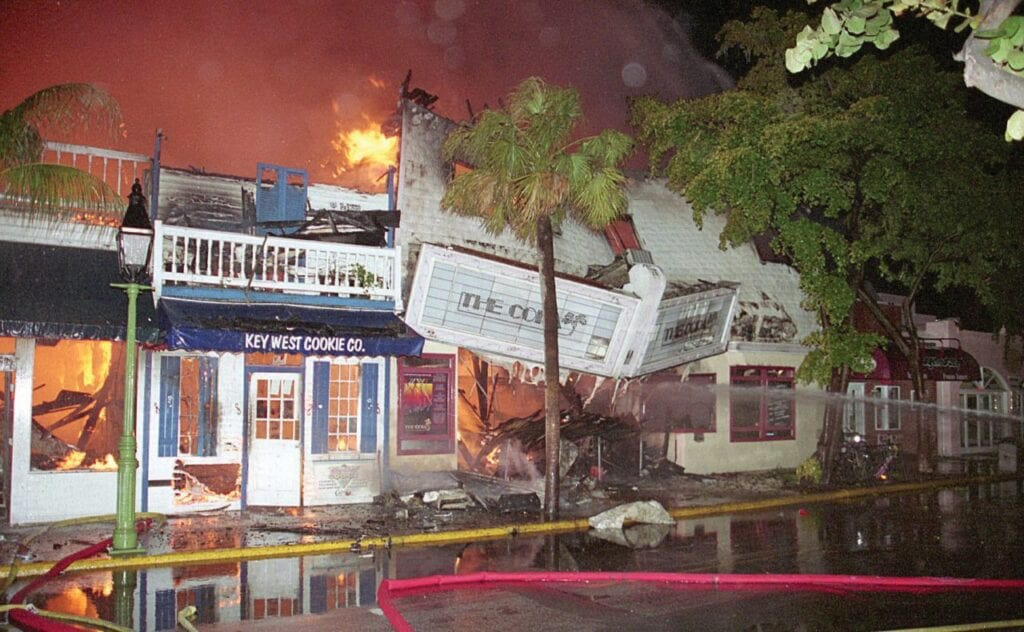 The music continued to blast as firefighters fought the 1995 blaze that consumed the Copa, a famed gay disco on Duval Street in Key West. COURTESY OF FLORIDA ARCHIVES