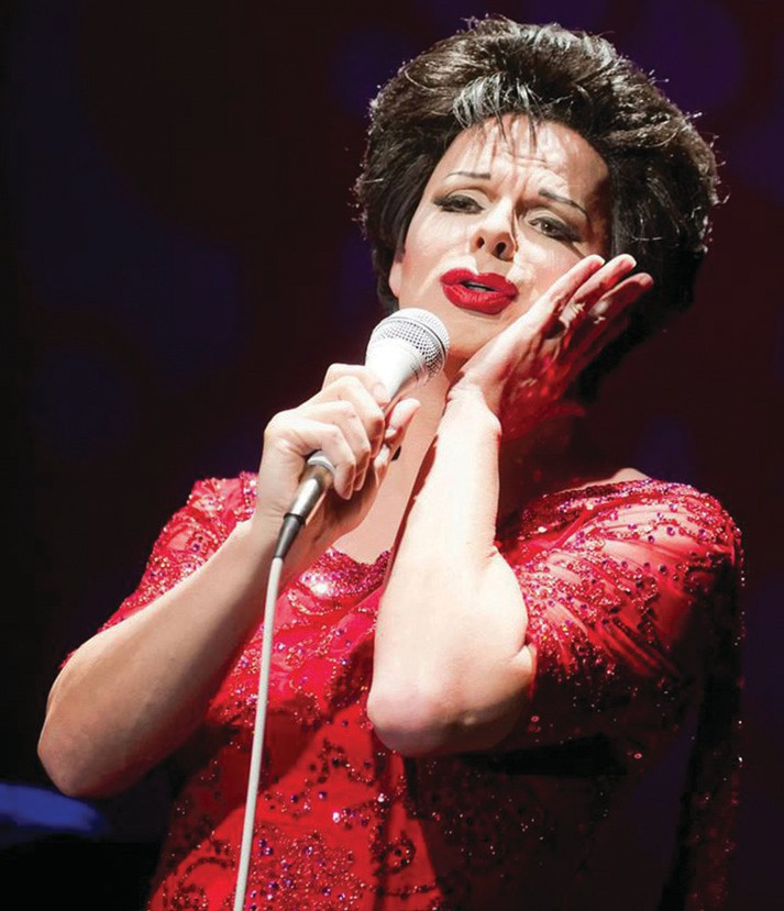 Female impersonator Christopher Peterson actually does his own vocals for his Eyecons show at LaTeDa. He does a dizzying array of impressions — Marilyn Monroe, Tina Turner, Liza Minnelli, Barbra Streisand and, seen here, Judy Garland.