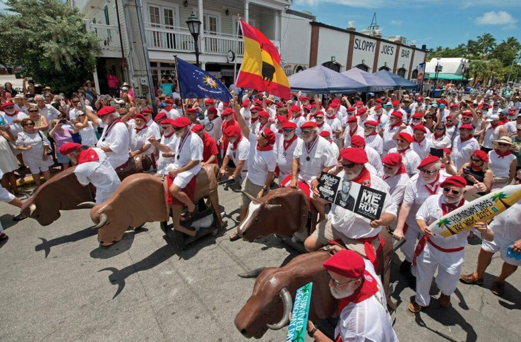 Hemingway look-alikes will run with the bulls as part of Hemingway Days. COURTESY PHOTO