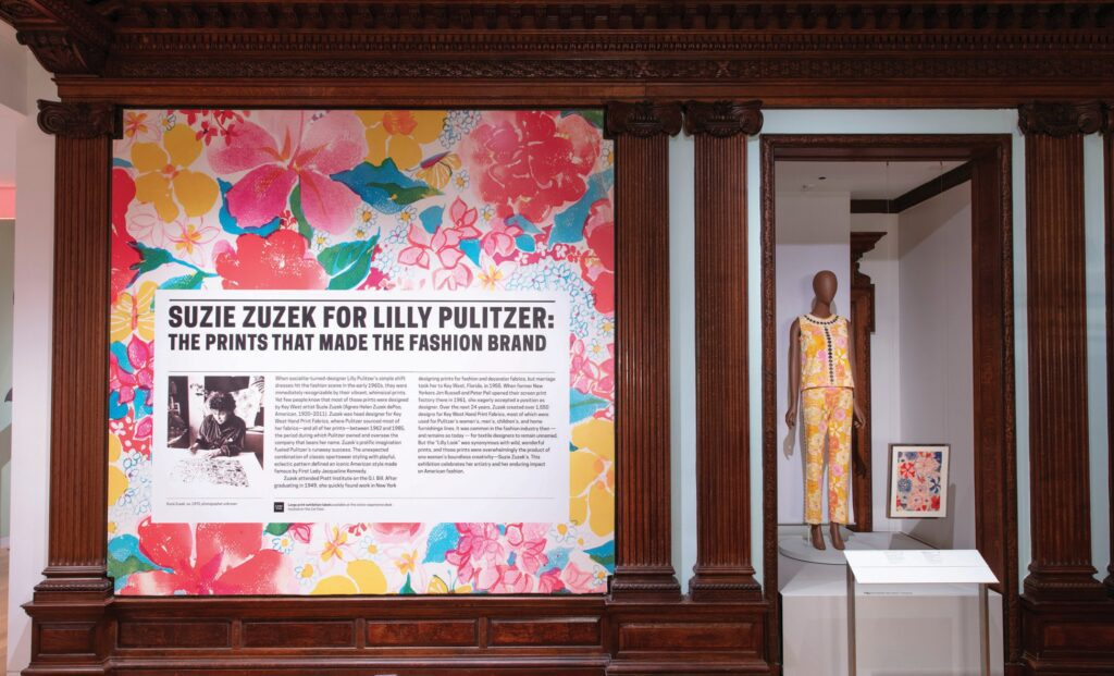 """Installation view of """"Suzie Zuzek for Lilly Pulitzer: The Prints That Made the Fashion Brand."""" PHOTOS BY MATT FLYNN/COURTESY OF COOPER HEWITT, SMITHSONIAN DESIGN MUSEUM. ALL ZUZEK DESIGNS © THE ORIGINAL I.P. LLC"""
